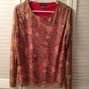 August Max 3 Lined Sheer Fall Color Paisley Top